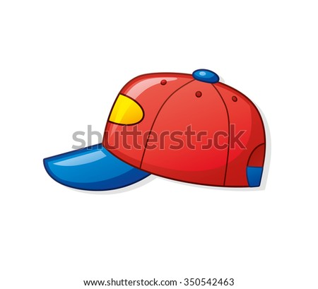 Red baseball cap. - stock vector