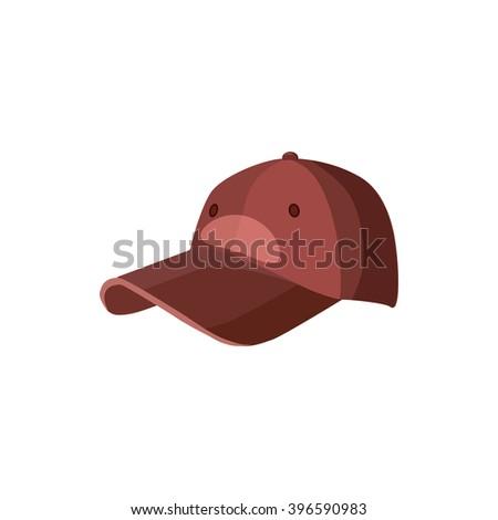 Red baseball hat icon, cartoon style - stock vector