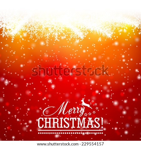 Red beautiful Background with snow, tree branches and particles. Merry Christmas and happy new year. Vector illustration - stock vector