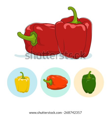 Red bell pepper  on white background,set of three round colorful icons, yellow,orange and green sweet pepper, icon capsicums ,vector illustration - stock vector