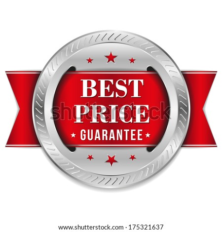 Red best price badge with ribbon - stock vector
