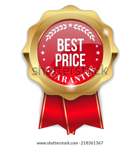 Red best price badge with ribbon on white background - stock vector