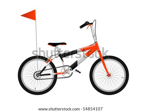 Red bicycle isolated on white - stock vector