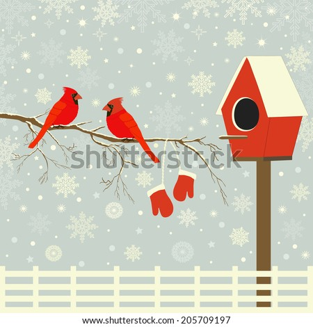Red birds on branch with snow and birdhouse - stock vector