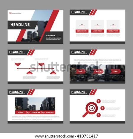 Red Black presentation templates Infographic elements flat design set for brochure flyer leaflet marketing advertising - stock vector