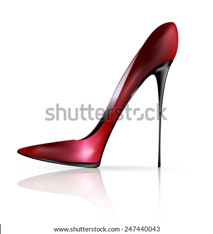 red black shoe - stock vector