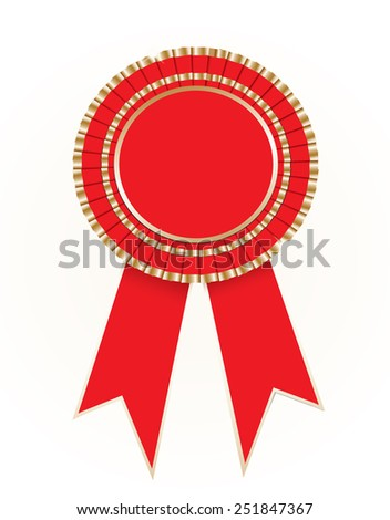 Red blank award rosette with ribbon - stock vector