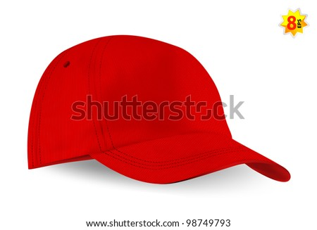 Red blank baseball cap template. - stock vector