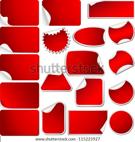 Red Blank Sticky Curled Paper Set Isolated on White. Vector - stock vector