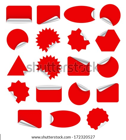 Red Blank Sticky Paper Set Isolated on White Background - stock vector