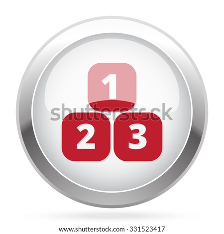Red 123 Blocks icon on chrome web button - stock vector