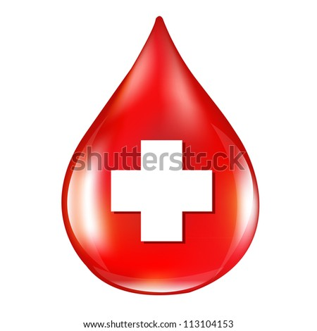 Red Blood Drop, Isolated On White Background, Vector Illustration - stock vector