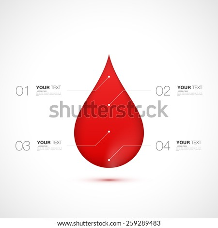 Red blood drop with numbered infographics template design for your text isolated on white background vector stock eps 10 illustration - stock vector