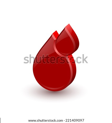 Red blood medical icon isolated on white background - stock vector