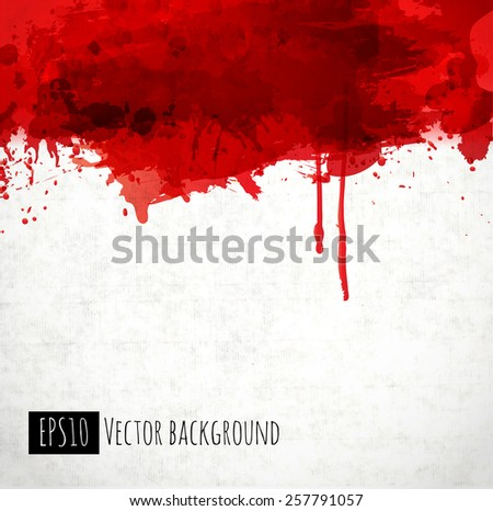 Red blood stains on old paper. Vector illustration. - stock vector