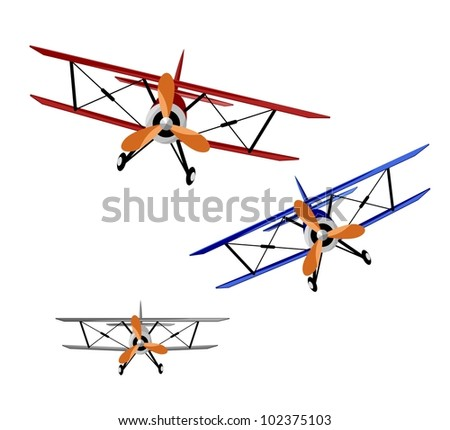 red, blue and gray biplanes on white background - vector illustration - stock vector
