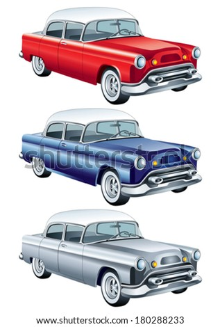 Red, blue and silver retro car vector (simple gradients only, no gradient mesh) - stock vector