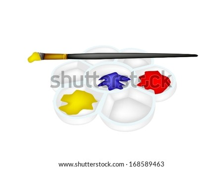 Red, Blue and Yellow Color Paint in Plastic Art Palette With A Craft Paintbrushes or Artist Brushes for Draw and Paint A Picture Isolated on White Background  - stock vector