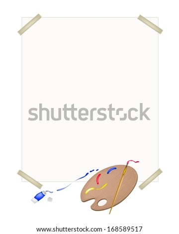 Red, Blue and Yellow Color Paint in Wooden Art Palette With A Craft Paintbrushes or Artist Brushes on A Drawing Paper for Draw and Paint A Picture.  - stock vector