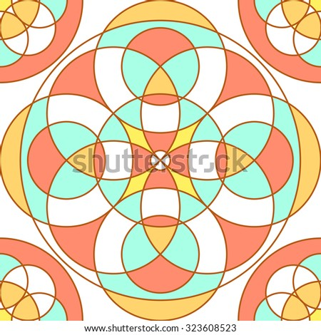 Red, blue and yellow linear pattern. stained-glass window effect. - stock vector