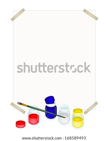 Red, Blue and Yellow Poster Color Paint Jars With Craft Paintbrushes or Artist Brushes and A Drawing Paper for Draw and Paint A Picture.  - stock vector