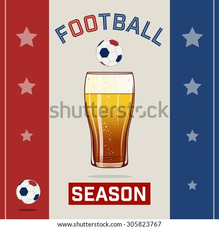 Red blue beer football - stock vector