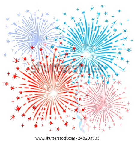 Red blue fireworks - stock vector