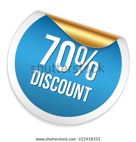 Red blue seventy percent discount sticker on white background - stock vector