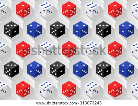 Red, blue, white and black casino dice with long shadows on a hexagonal background. Seamless pattern. Vector illustration  - stock vector