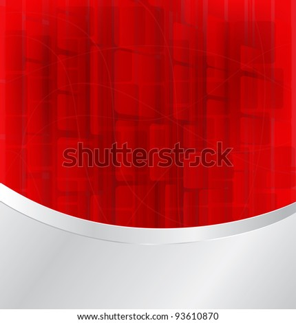 red bokeh abstract light background with silver frame - Vector illustration eps10 - stock vector