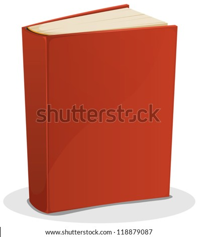 Red Book Isolated On White/ Illustration of a cartoon standing blank red covered book isolated on white background - stock vector