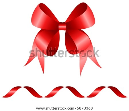 Red bow and curly ribbon isolated on white background - vector  illustration - stock vector
