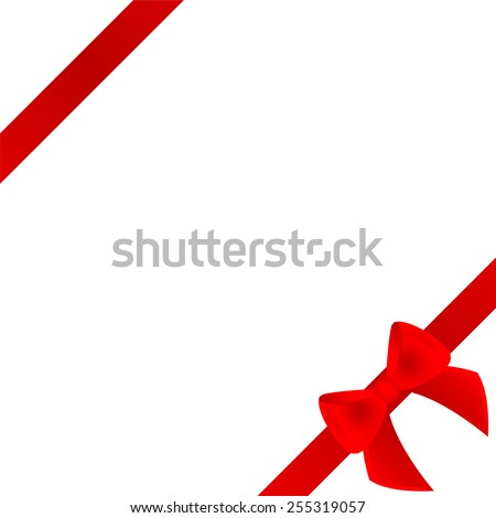 Red bow and ribbon on white background - stock vector