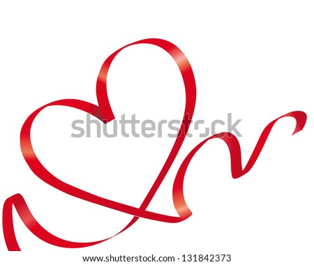 Red bow heart - stock vector