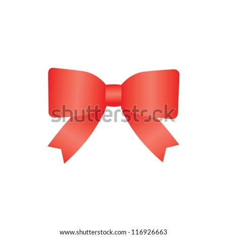 Red bow isolated on white background. Christmas bow - stock vector