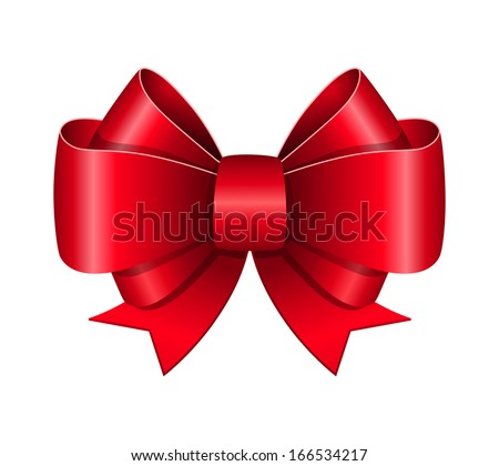 Red bow symbol isolated vector illustration - stock vector