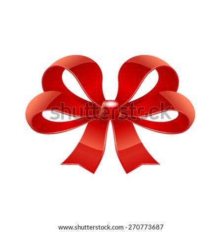 Red bow. Vector - stock vector