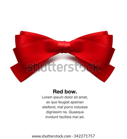 Red bow. Vector illustration on white background. Can be use for decoration gifts, greetings, holidays, etc. - stock vector