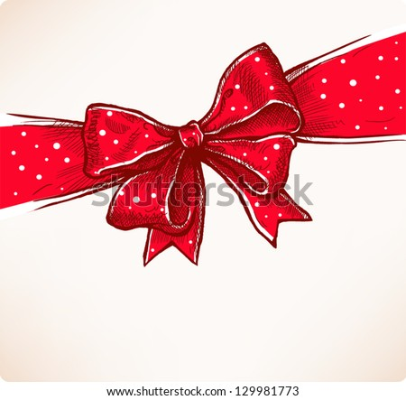 Red bow, vintage hand drawn vector illustration - stock vector