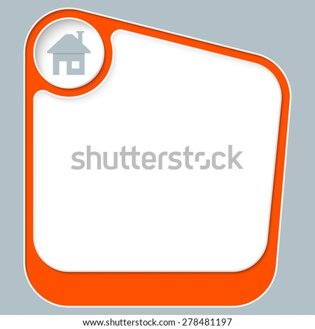Red box for your text with white frame and home symbol - stock vector