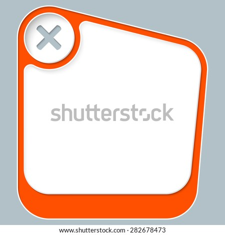 Red box for your text with white frame and multiplication symbol - stock vector