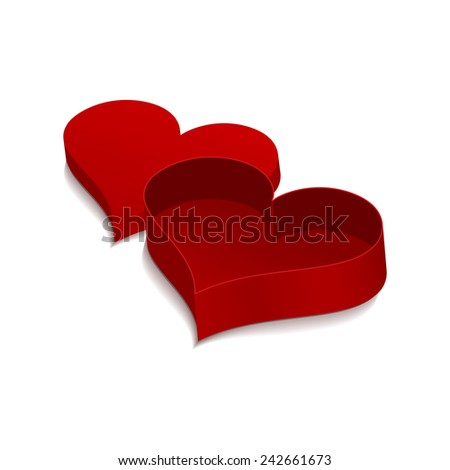 Red box in the shape of heart. Vector 3D isolated object on white background for your design. - stock vector