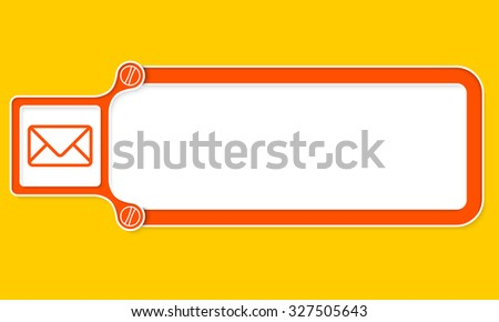 Red box with white frame for your text and envelope - stock vector