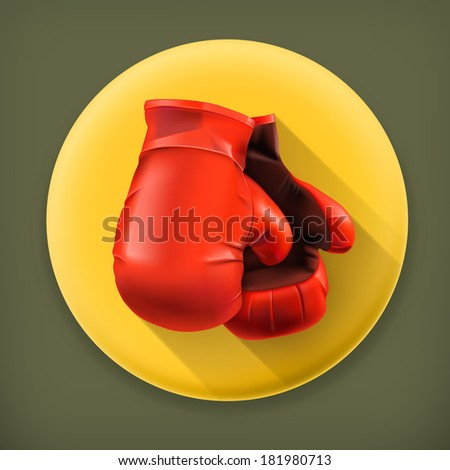 Red boxing gloves, long shadow vector icon - stock vector