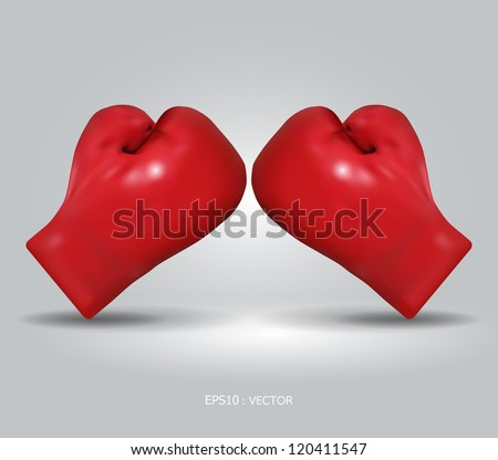red boxing gloves / vector illustration - stock vector