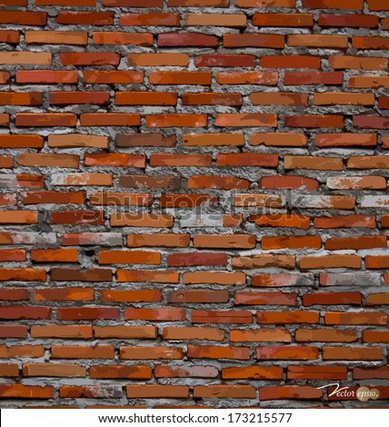 Red brick wall background. Vector illustration. - stock vector