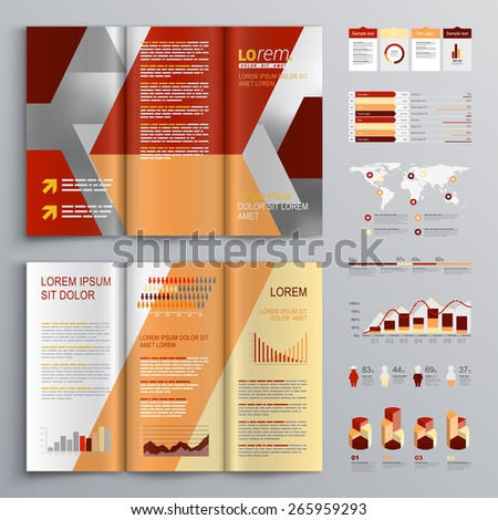 Red brochure template design with diagonal shapes. Cover layout and infographics - stock vector
