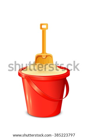 Red bucket with sand and shovel isolated on white background, illustration. - stock vector