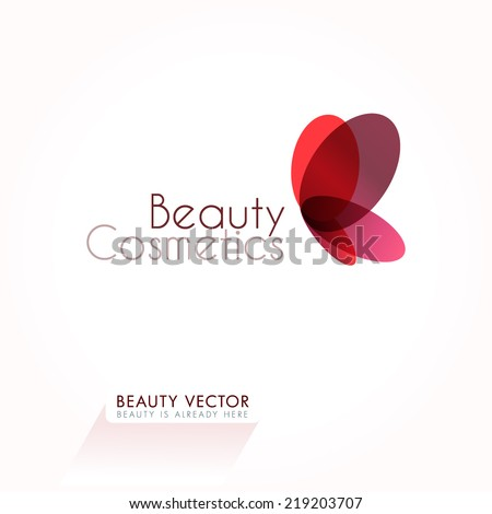 Red Butterfly vector illustration. Business sign template for Beauty Industry, Beauty Salon, Cosmetic labeling, Beauty Boutique. Vector graphics representing concept of femininity, beauty, freedom. - stock vector