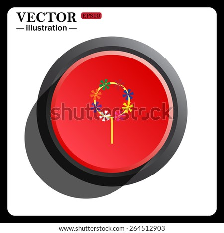 Red button start, stop. Children's toy wind mill, turntables, pinwheel wind vane, icon, vector illustration. Flat design style  - stock vector